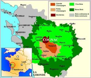 Map of Cognac Region